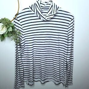 Madewell Navy/White Loose Turtleneck Small